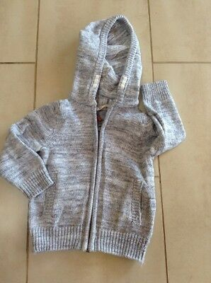 H&M Grey Cotton Knitted Zip Cardigan Hooded Age 18-24 Months