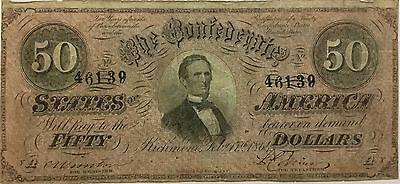1864 $50 CONFEDERATE STATES Currency Civil War Paper Money