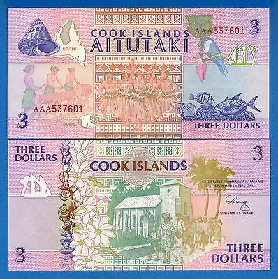 Cook Island P-7 3 Dollars Year ND 1992 Uncirculated Banknote Free Shipping