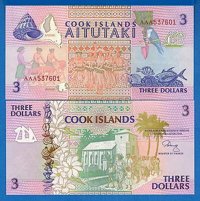 Cook Islands P-7 3 Dollars Year ND 1992 Uncirculated Banknote