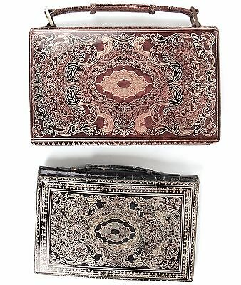2 Vintage Florentine Leather Gold Gilt Wallets, Italy Coin Purse - Tan, Green