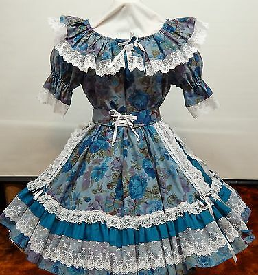 2 Pc  Fun And Fancy  Floral And Lace Square Dance Dress