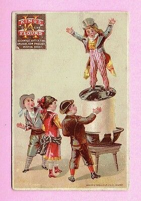 UNCLE SAM Patriotic Victorian Trade Card KING'S FLOURS