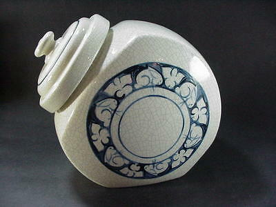 Dedham Pottery Potting Shed Rabbit / Bunny Blue On White Covered Cookie Jar Mwd