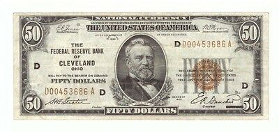 1929 Type 1 National Federal Cleveland Brown Seal $50 Currency Note! USC049