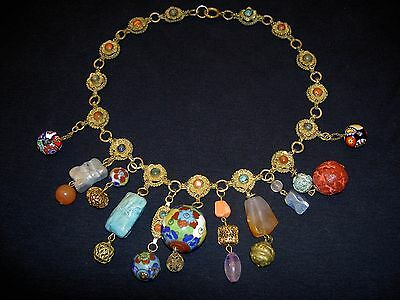 Antique VTG Chinese Filigree Natural Multi Stone Cloisonne Bead Dangle Necklace