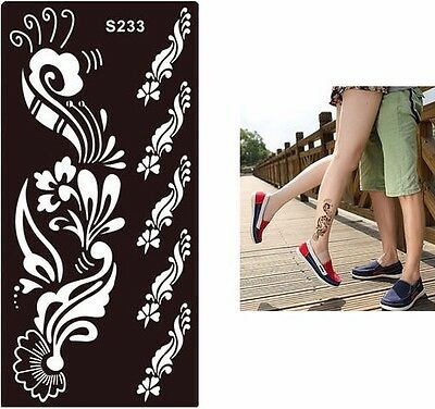 Feather Black Temporary Tattoo Henna Henna Inks Stencils Template