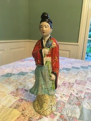 """Antique Vintage Chinese Woman Ceramic Figurine In Red Gown - 10"""""""
