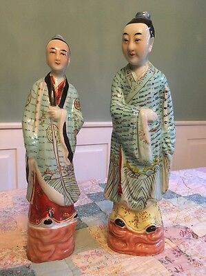 """Antique Vintage Pair Of Chinese Ceramic Figurines- Husband And Wife - 12"""" Tall"""