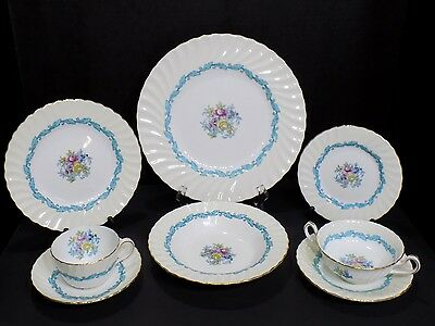 8 Piece/1 Place Setting of Minton Ardmore Hand Colored Bone China England
