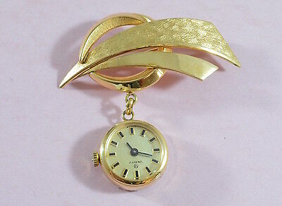 Vintage 1950's? stunning rolled gold Verity fob watch brooch pin - fully working