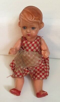 "Vintage Doll Jointed Celluloid Plastic 5 1/2"" Sleep Eyes Italy Checkered Dress"