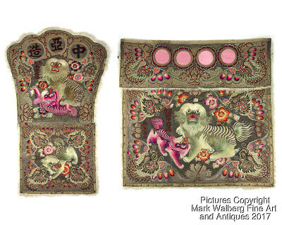 Chinese Embroidered Silk Textiles, Buddhist Seat Cover & Alter Cover, 19/20th C.