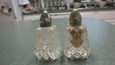 pair old clear glass diamond pattern square flared sides 9 points on bottom