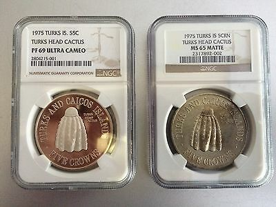 1975 Turks & Caicos Islands - Silver PF69 UC - MS 65 MATTE - NGC 2 Coins - POP=1