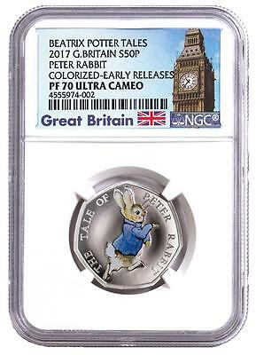 2017 Great Britain Silver 50 Pence - Peter Rabbit - PF70 UC ER NGC Coin - POP=3