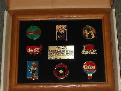 Coca Cola Collectible Jumbo Pin Set 8 Pins In Wood Frame  Limited  Edition