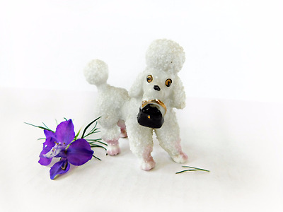 VTG White Sugared Porcelain Standing Poodle w/ Purse Kitschy made in Japan