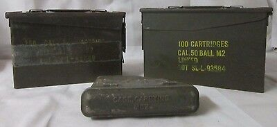 Lot of 3 U.S. Military Green Metal Cartridge Carrying Containers