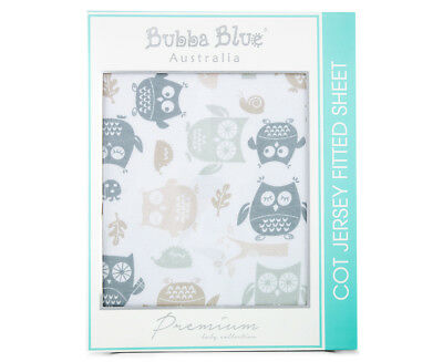 Bubba Blue Mod The Owl Cot Jersey Fitted Sheet