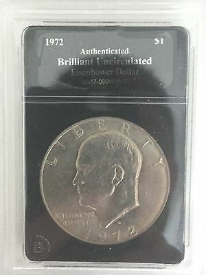 RARE-1972 Eisenhower Silver Dollar-Authenticated and Brilliant Uncirculated