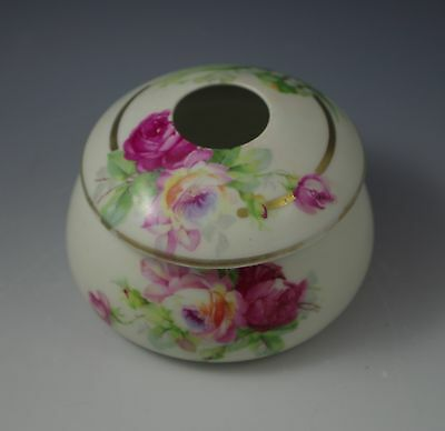 Antique  Bavaria Hair Receiver Lily Of The Valley And Roses, Hand Painted