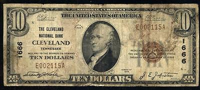 ***national Bank Note*** Charter #1666 1929 $10 Cleveland Tn Fine #a109