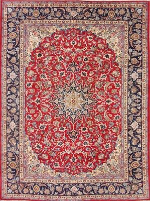 Hand Knotted Traditional Floral Red/Navy 9x12 Isfahan Persian Oriental Area Rug