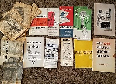 Rare lot of 12 1950s Vintage nuclear readiness brochures and 15  clippings
