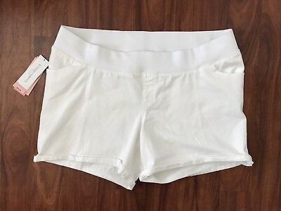 Liz Lange Maternity Shorts White Denim Under Belly Women's size XXL 18 NWT
