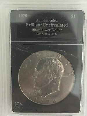 RARE-1978 Eisenhower Silver Dollar-Authenticated and Brilliant Uncirculated