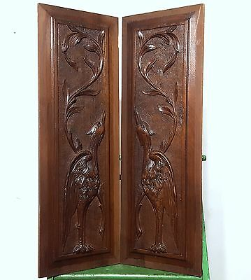 Hand Carved Wood Panel Matched Pair Antique French Bird Volute Salvaged Carving