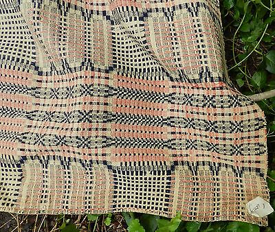 """Antique / Vintage Hand Woven Coverlet made in 3 pieces sewn together - 84"""" X 98"""""""