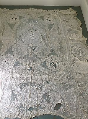 Antique French hand embroidered Normandy lace bedcover Bedspread Coverlet 1 Of 2