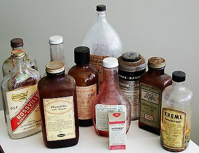 LOT/GROUP Antique/VTG Drug Store Pharmacy Apothecary Medicine Bottle