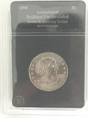RARE-1999 Susan B. Anthony Dollar-Authenticated and Brilliant Uncirculated