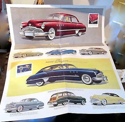 1949 Buick Fold Out Sales Brochure  Roadmaster 70 and Super 50  Dynaflow