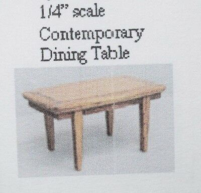 "1/4"" Scale Contemporary Dining Table, Wood Kit-Dollhouse Miniature"