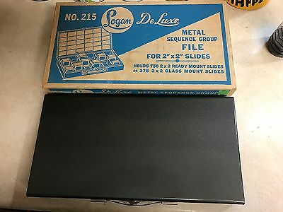 "VINTAGE LOGAN METAL DELUXE SLIDE FILE CASE #215 HOLDS 750 Ready Mount 2""X2"""