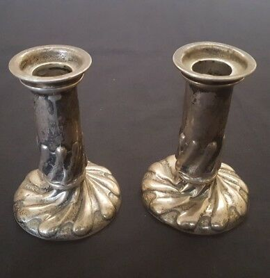 Antique sterling silver Mappin Webb London candlestick holders