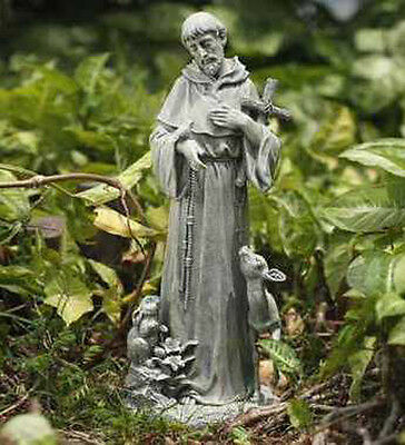 St Francis of Assisi with Cross Garden Yard Lawn Patio Statue Deer Fawn Bunny