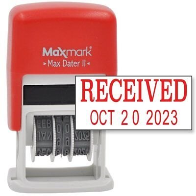 MaxMark Self-Inking Rubber Date Office Stamp with RECEIVED Phrase & Date - RED