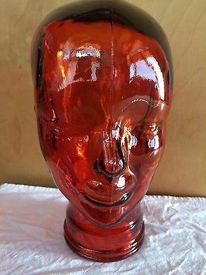 NWT recycled glass Spain mannequin head orange wig sunglass display