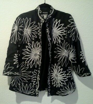 Chico's black womens jacket size 2 white emroidery 100% silk long sleeve