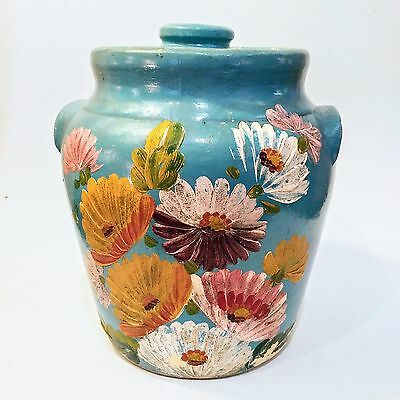 Vintage Blue RANSBURG Pottery Hand Painted Aster Shabby Flowers Cookie Jar