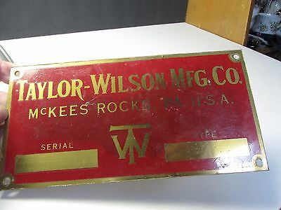 Vintage Taylor Wilson Mfg Co Brass Advertising Sign Mckees Rocks Pa