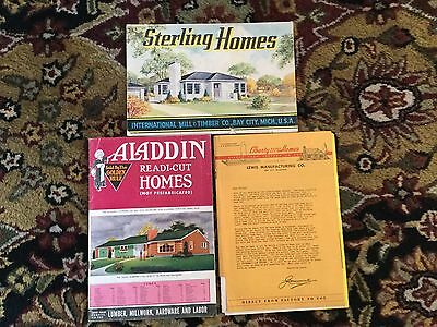 3 1950's Vintage Model Homes Aladdin Liberty And Sterling Holmes Catalogs