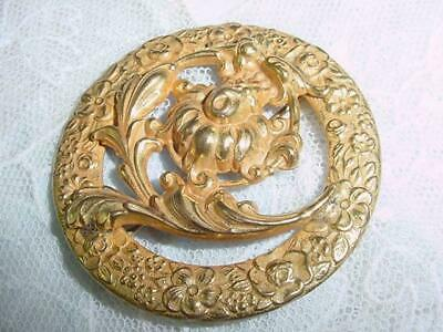 Art Nouveau Antique Stunning  Gold Plated Floral Design  Round Pin      #1728
