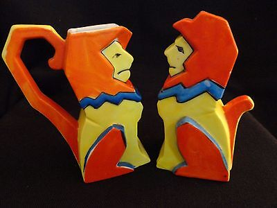 Art Deco Lions Japan Shaker & Creamer Bold Primary Colors