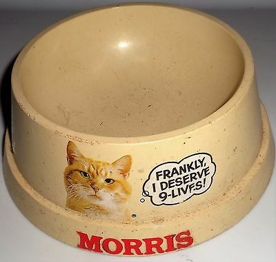 "RARE Vintage MORRIS The Cat ""Frankly I Deserve 9 Lives"" Plasitc Cat Food Bowl"